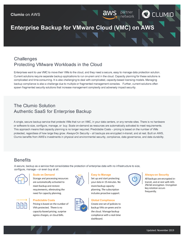 Clumio VMware Cloud on AWS Solution Brief
