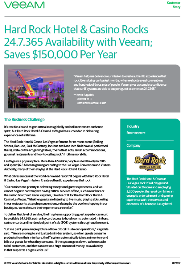 Customer Case Study: Hard Rock Hotel & Casino Rocks 24.7.365 Availability with Veeam; Saves $150,000 Per Year
