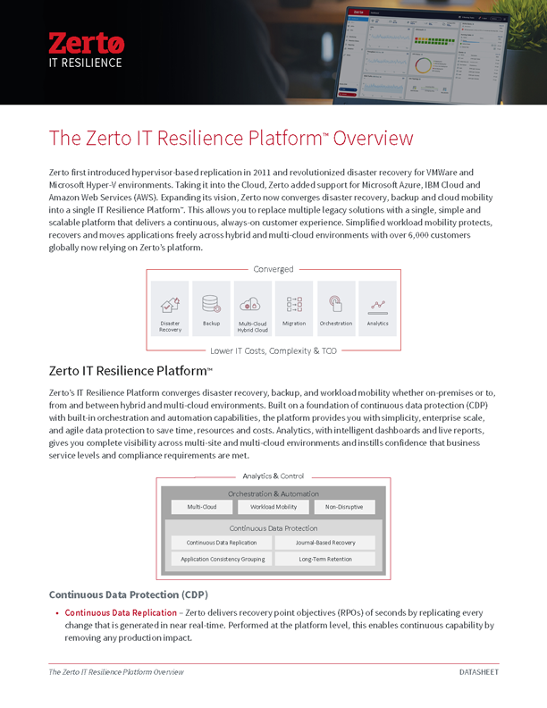 Zerto IT Resilience Platform Overview